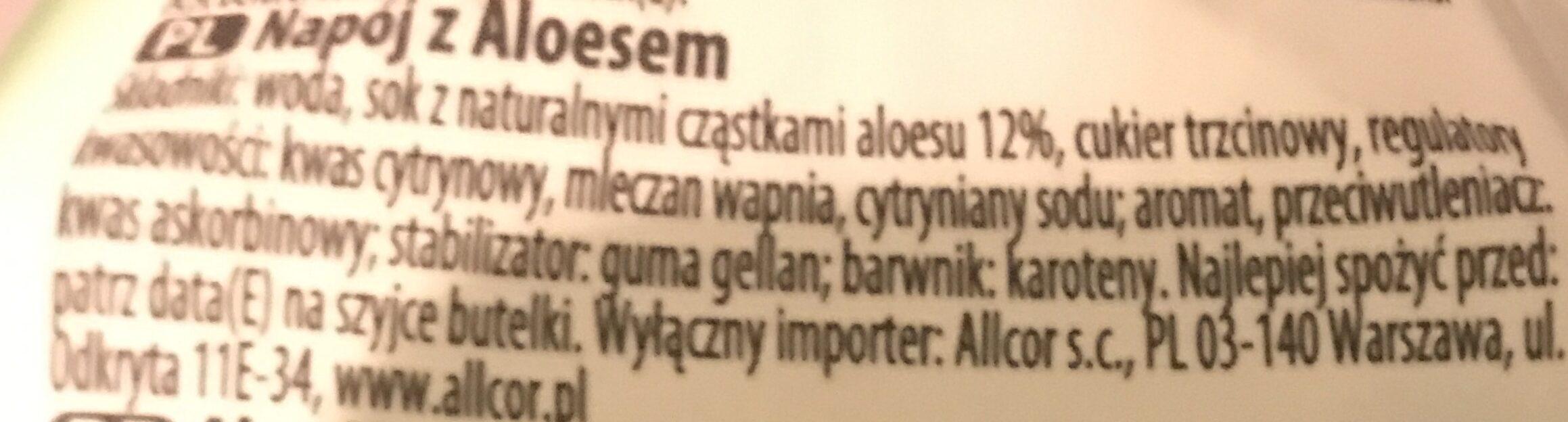 My Aloe Original Napój Z Aloesu 1,5L - Składniki - pl