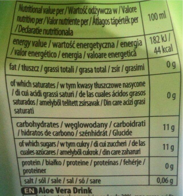 My Aloe Original Napój Z Aloesu 1,5L - Informació nutricional - es