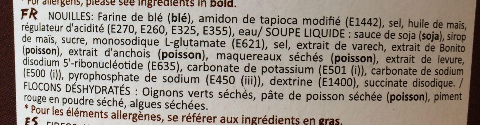 Nouilles précuites au bouillon de légumes - Ingredients - fr