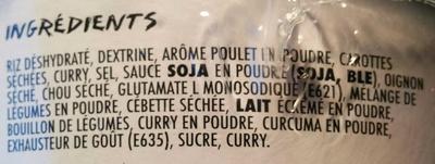 Korean Rice Cup Goût Poulet Curry - Ingrédients - fr