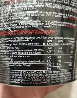 Yakisoba - Nutrition facts - fr