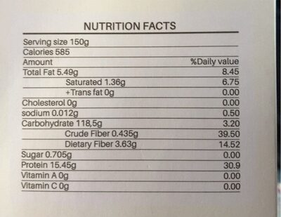 Rice Cakes Organic - Nutrition facts - fr