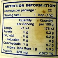 Sauce Huitre Mae Krua - Nutrition facts