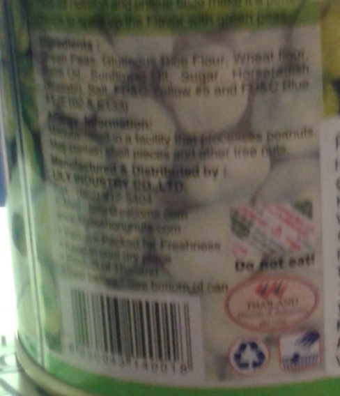 Khao Shong, Wasabi Coated Green Peas - Nutrition facts