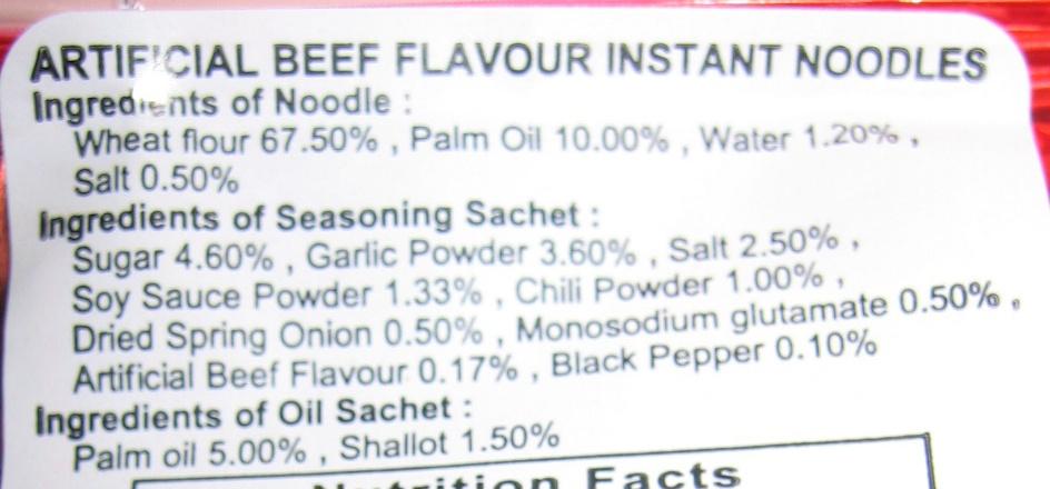 Nouilles instantanées bœuf - Ingredients - en