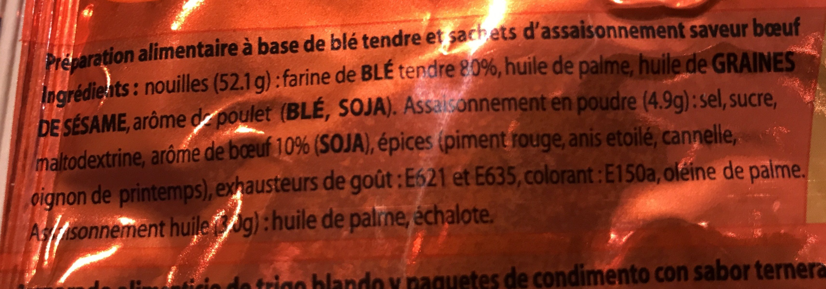 Nouilles instantanées bœuf - Ingrédients - fr