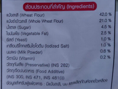 ขนมปังโฮลวีต - Ingrédients - th