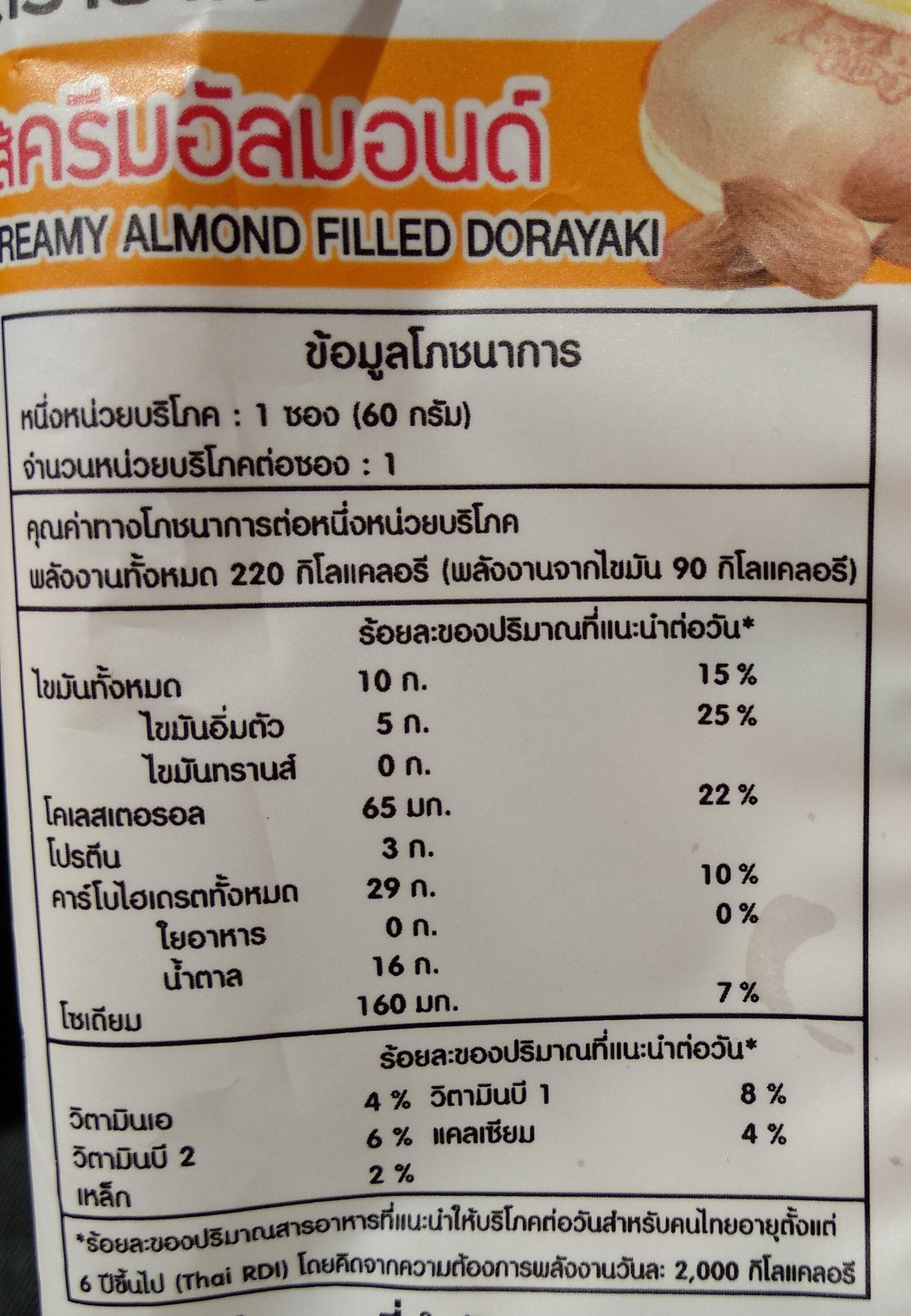 โดรายากิ ไส้ครีมอัลมอนด์ ตราฟาร์มเฮ้าส์ - Informations nutritionnelles - th