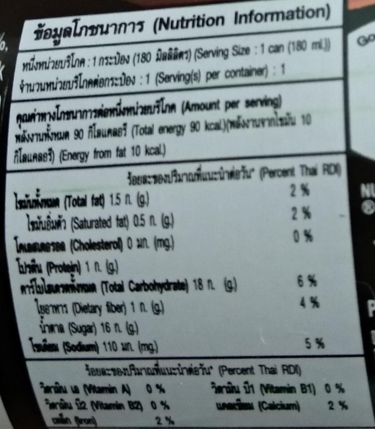เนสกาแฟ ดาร์คโรส - Nutrition facts