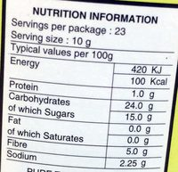 Pure tamarind paste - Nutrition facts