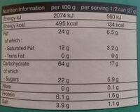 Thai jasmine rice snack sour cream & cheddar cheese - Nutrition facts - en