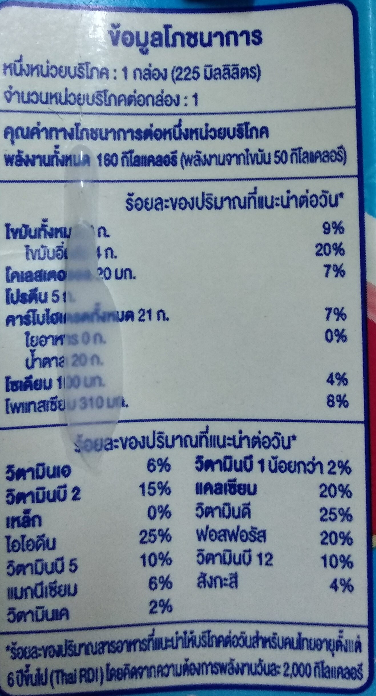 นมเย็นบิงซู - Nutrition facts - th