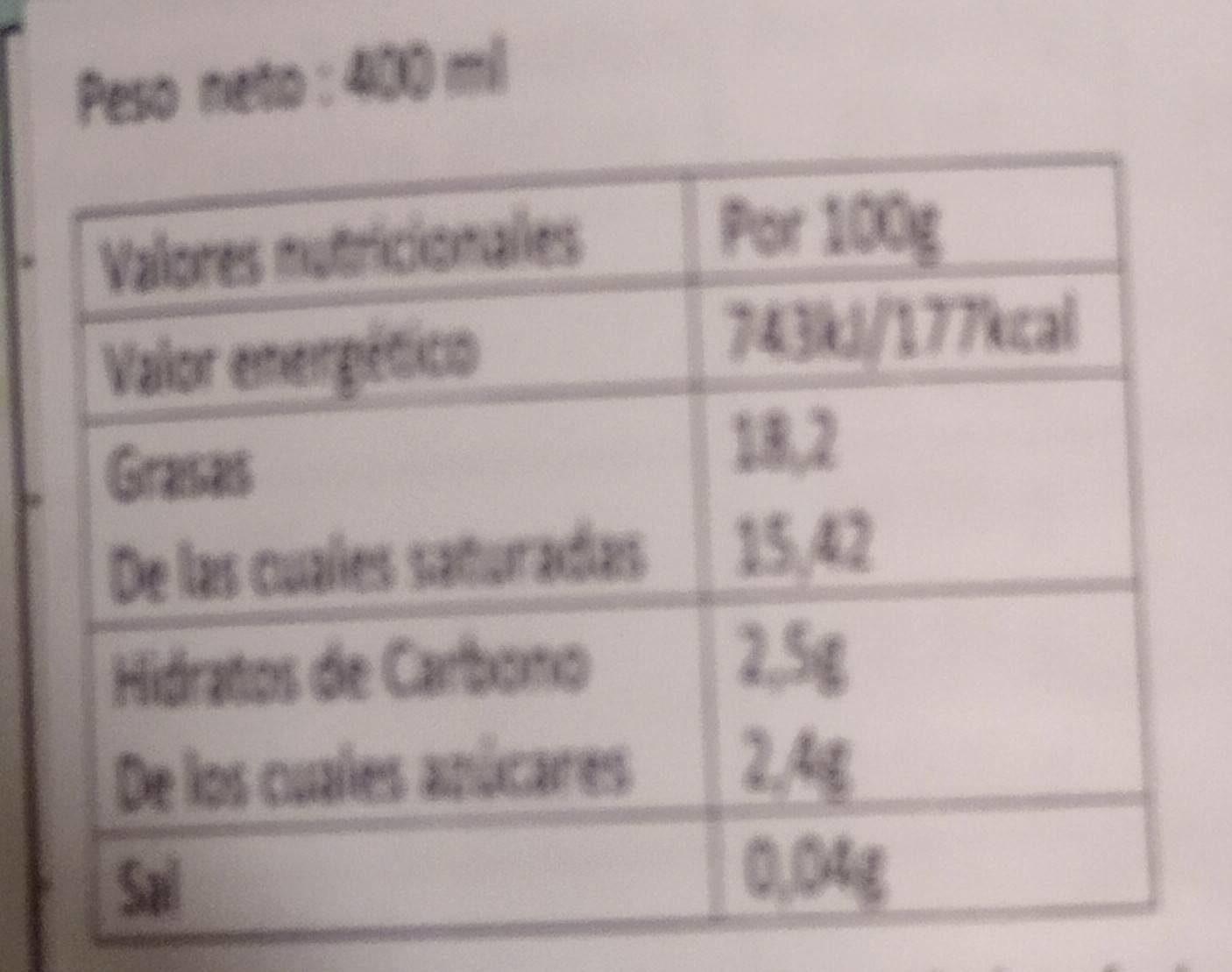 Thai coco - Información nutricional - es