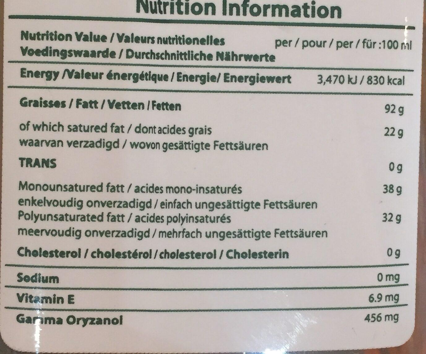 Huile de riz - Informations nutritionnelles - fr