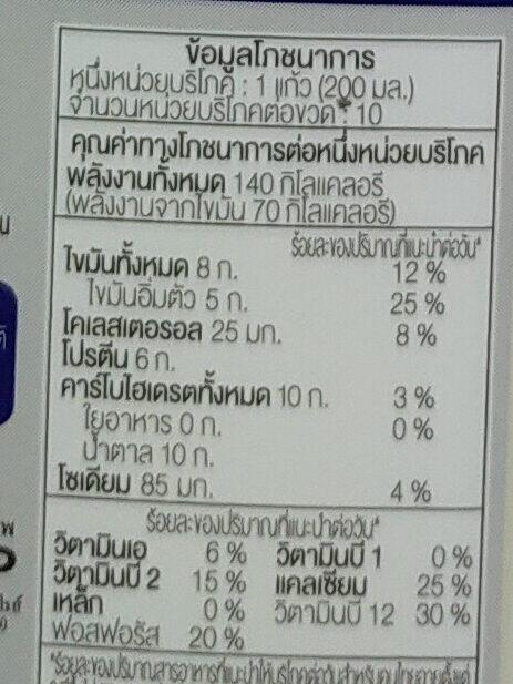 นมจืด - Voedingswaarden - th