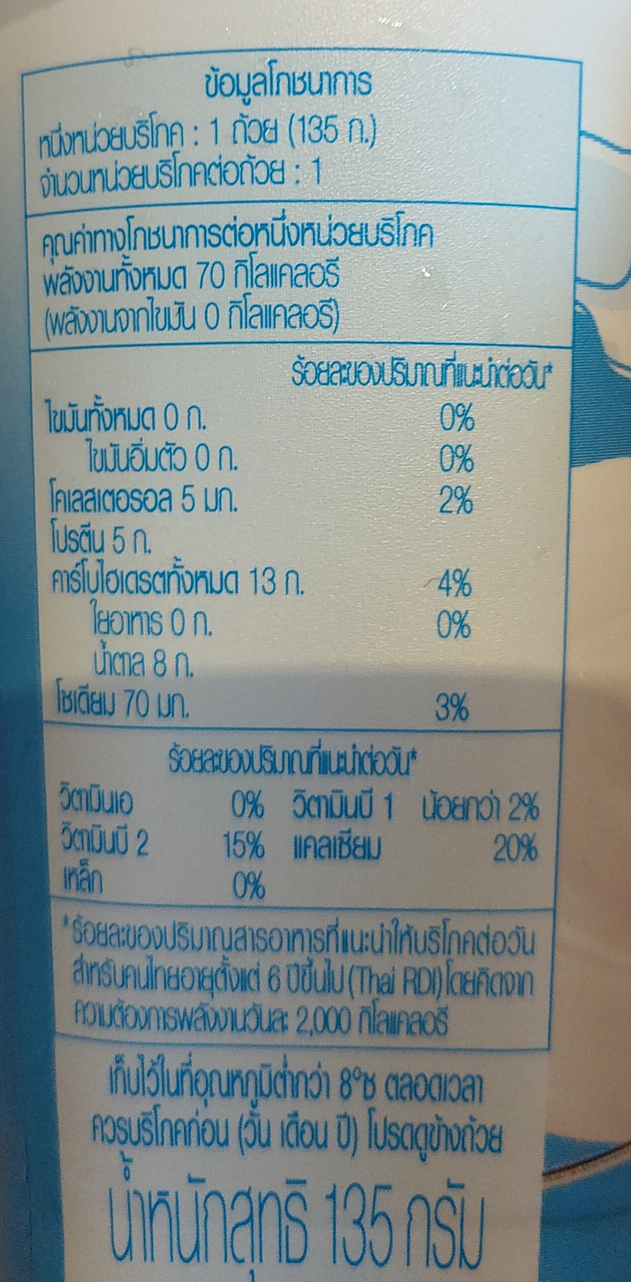 โยเกิร์ตรสธรรมชาติ - Informations nutritionnelles - th
