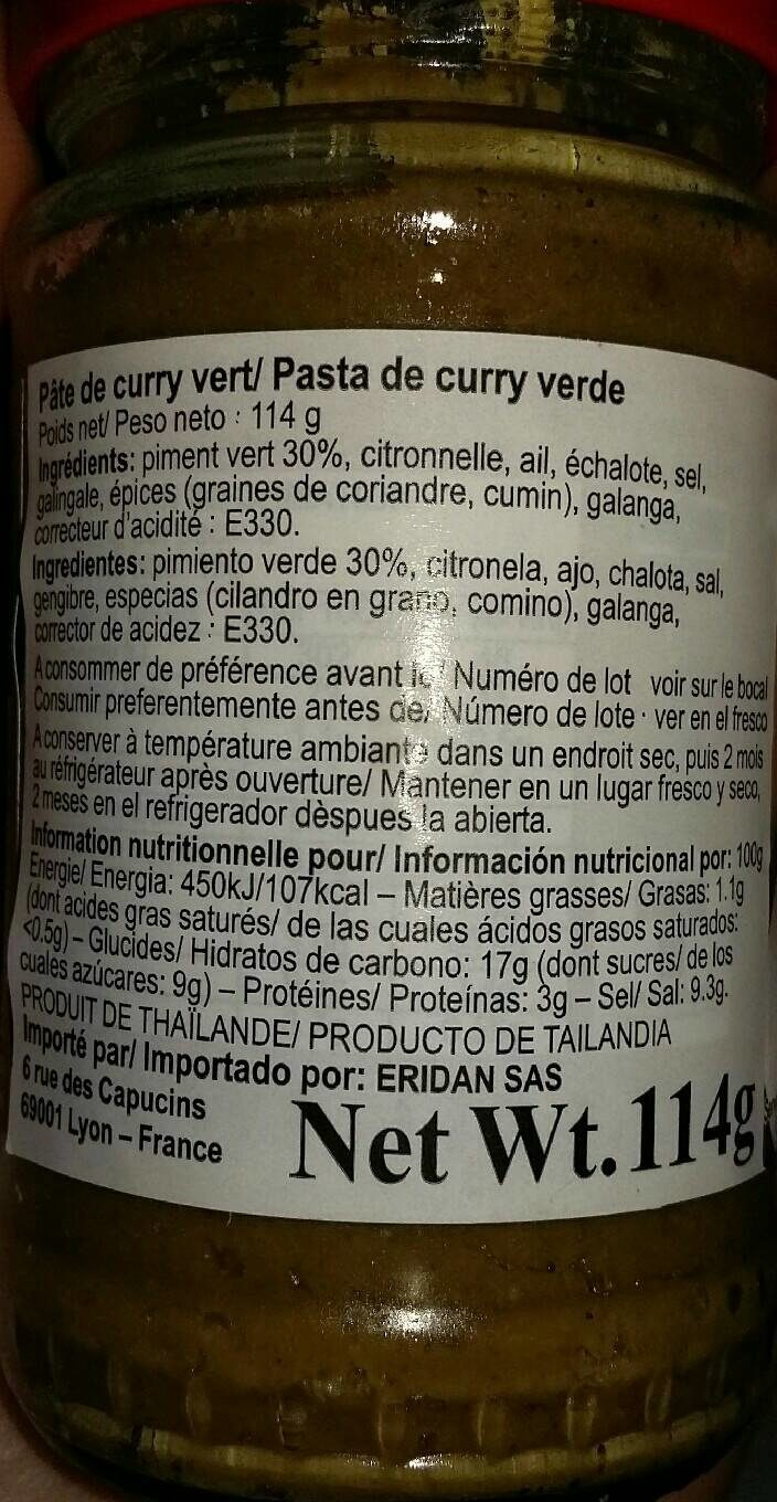 Pâte de curry vert - Nutrition facts