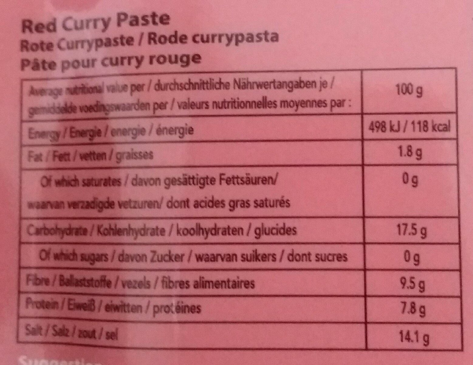 Mae Ploy, Red Curry Paste - Nutrition facts
