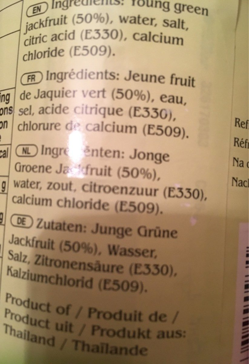 Junge Grüne Jackfruit In Sole - Green Jackfruit - 560 GR. - Ingredients - fr