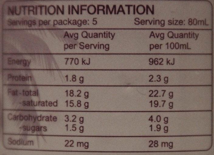 TCC Premium Coconut Cream - Nutrition facts - fr