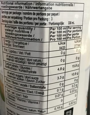 Eau de coco - Nutrition facts