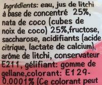 Boisson à base de concentré de jus de fruits et nata de coco - Ingredients - fr