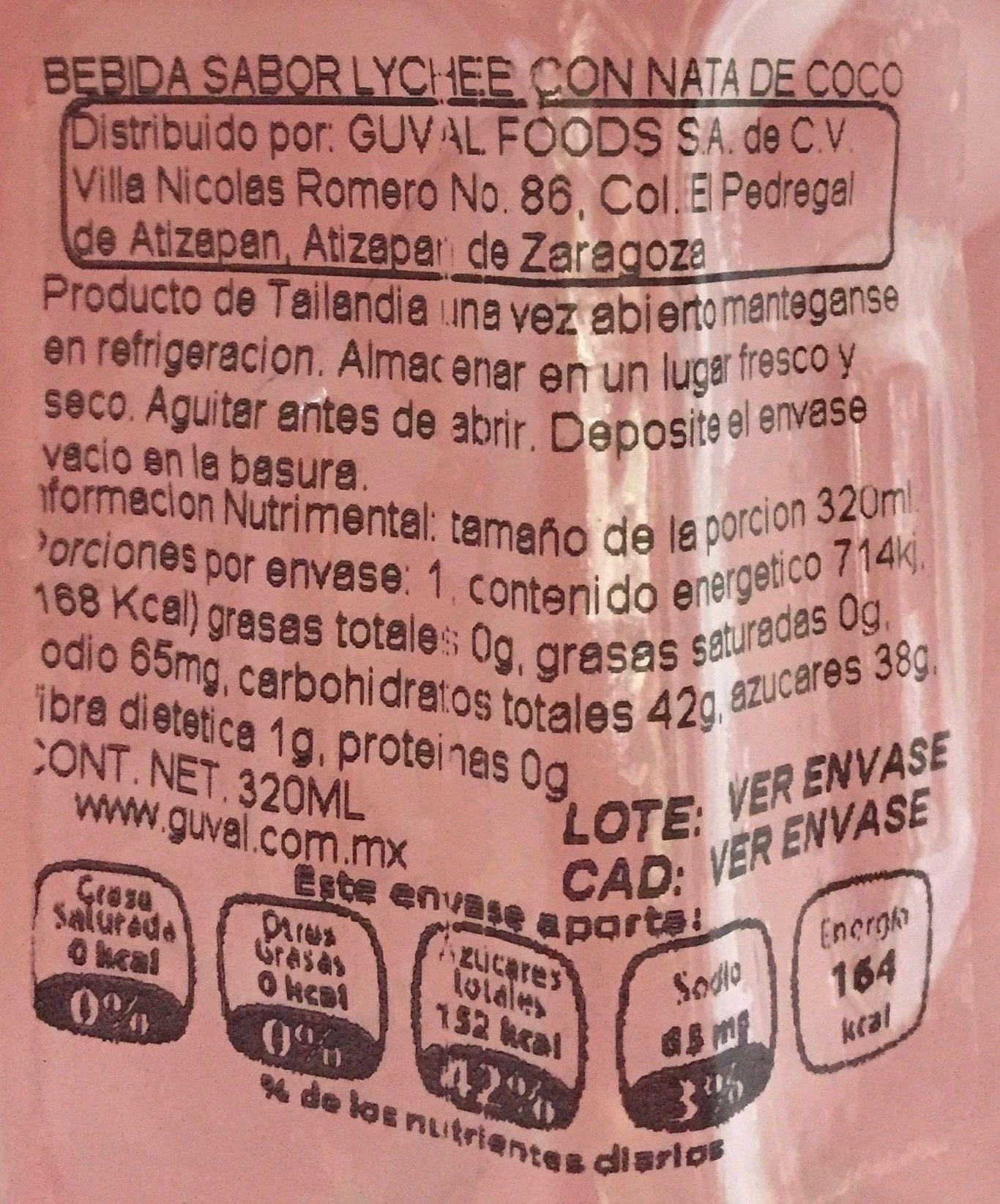 Boisson à base de concentré de jus de fruits et nata de coco - Información nutricional - es