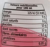 Boisson à base de concentré de jus de fruits et nata de coco - Nutrition facts - fr