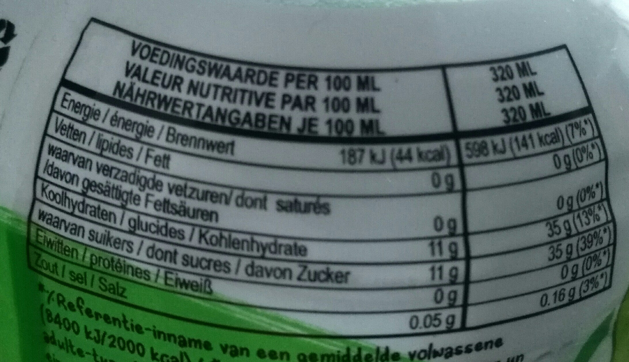Mogu Mogu - Nutrition facts