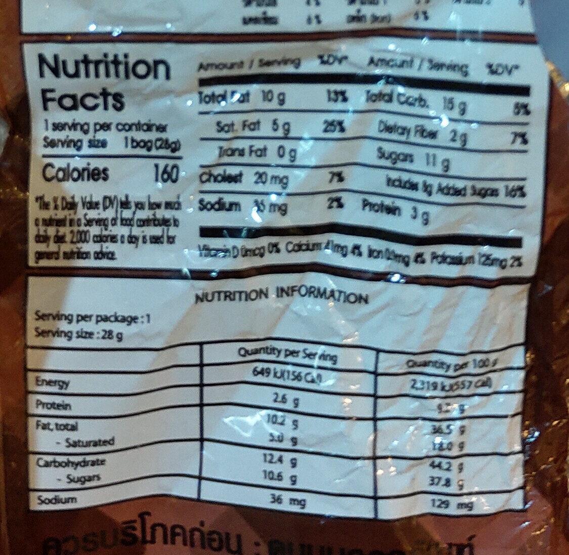 เบเกอร์รี่บอล - Informations nutritionnelles - th
