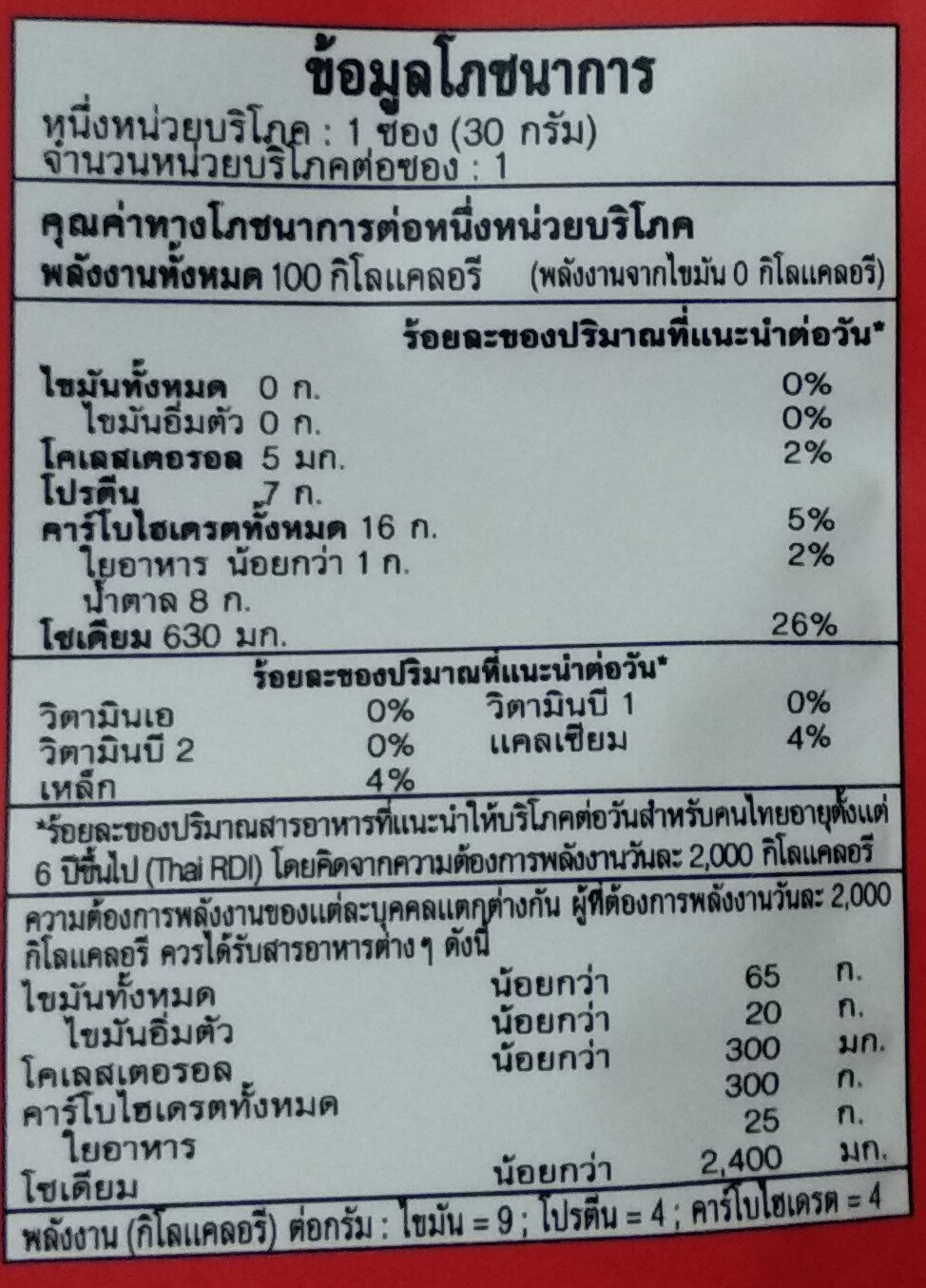 Fish Sheet - Nutrition facts