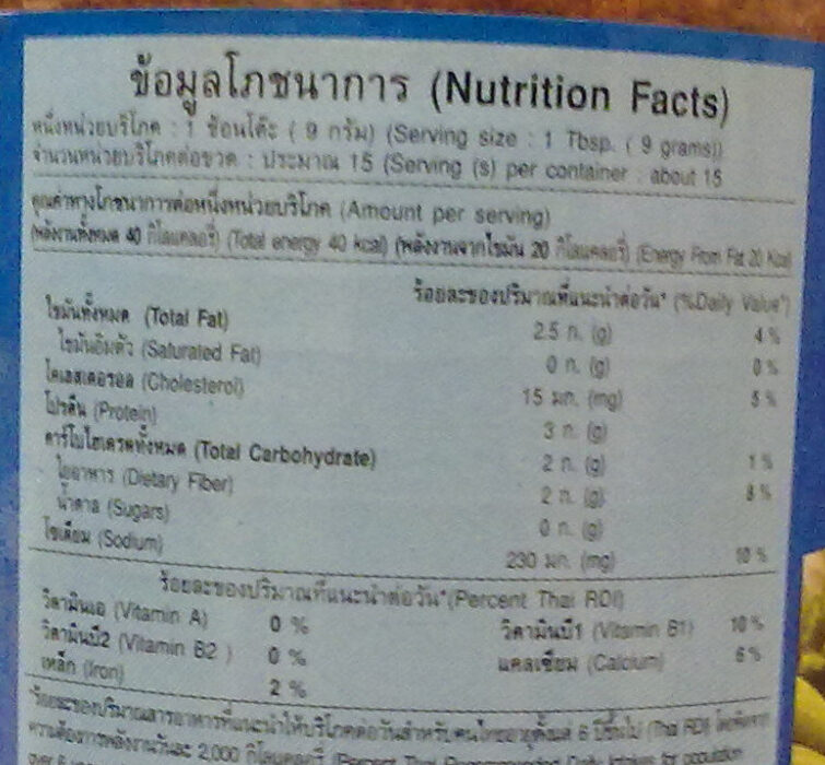 น้ำพริกนรก - Valori nutrizionali - th