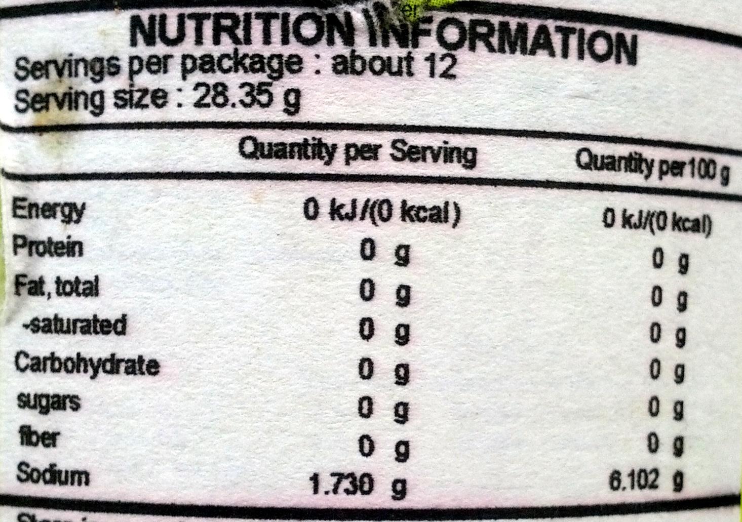 บ๊วยดอง - Nutrition facts - th