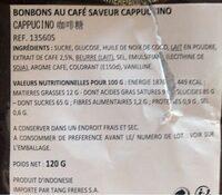 Cappuccino Candy Bag - Informazioni nutrizionali - ca