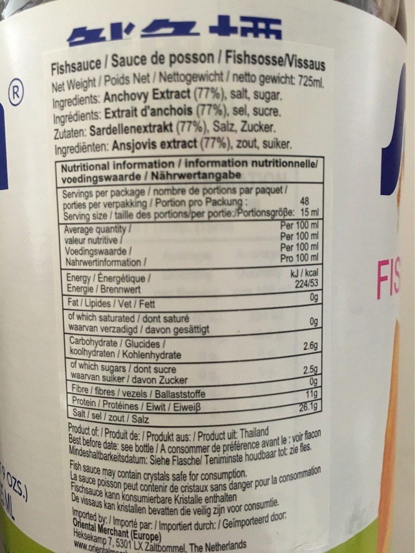 Fish Sauce - Informations nutritionnelles - fr
