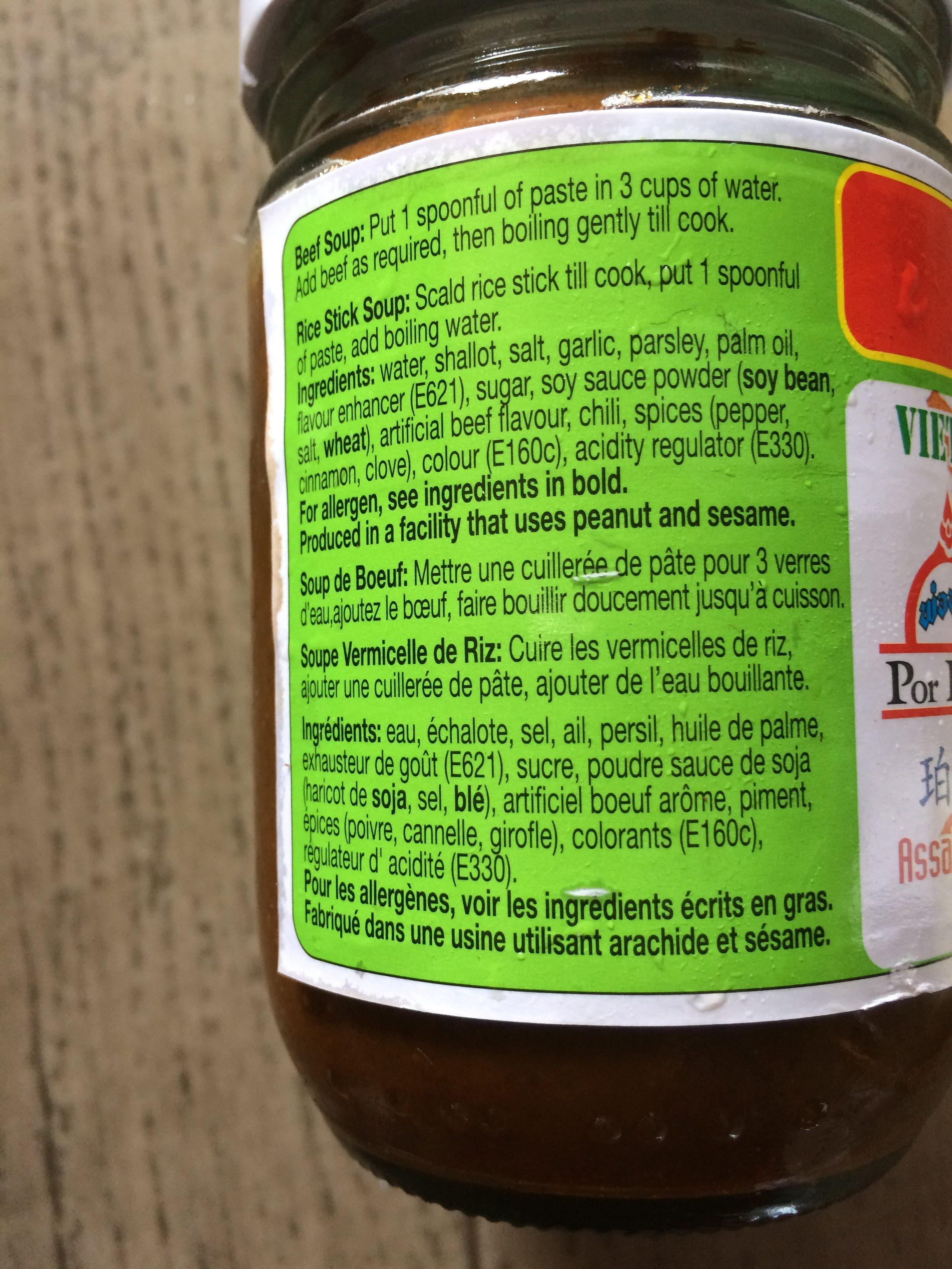 Pho Préparation Soupe Boeuf 227G - Ingredients - fr