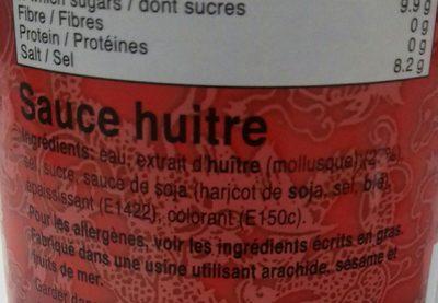 Lee, Oyster Sauce - Ingredients