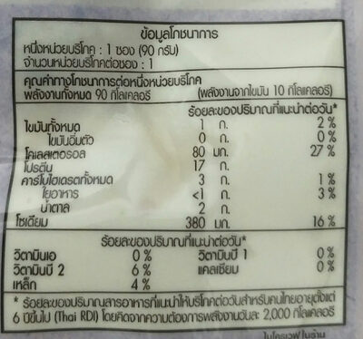 อกไก่นุ่มกระเทียมพริกไทย - Informations nutritionnelles - th