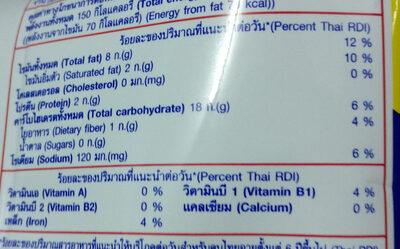Lays chips - Nutrition facts - en