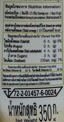 ซอสมะเขือเทศ - Nutrition facts