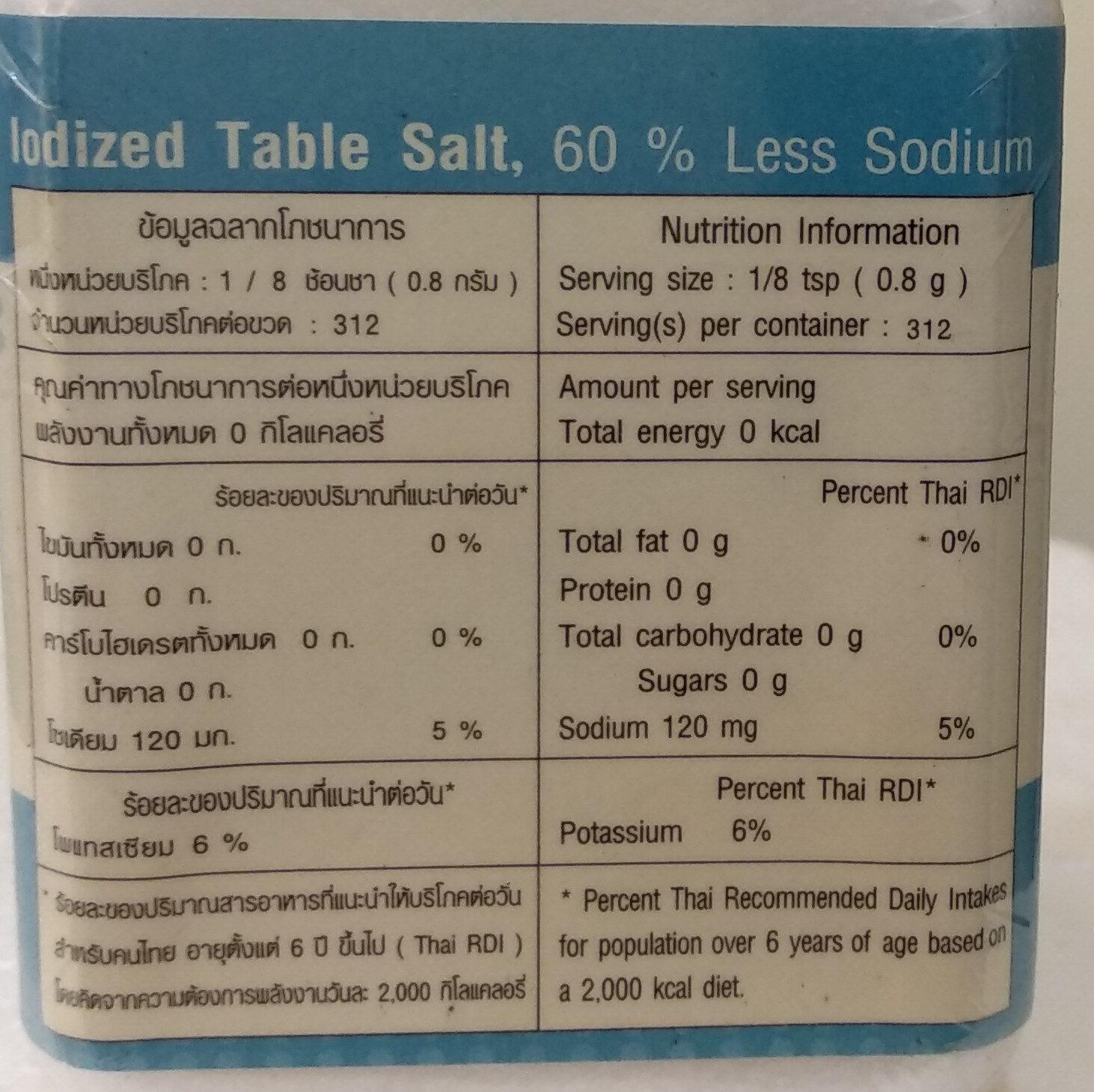 เกลือเสริมไอโอดีนสูตรลดโซเดียม - Informations nutritionnelles - th