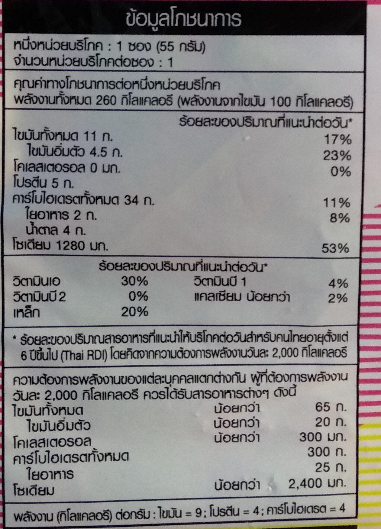 มาม่าต้มยำกุ้ง - 营养成分 - zh