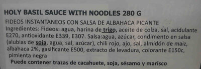 Holy Basil sauce with Noodles - Ingredients