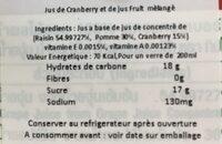 Mixed Fruit Juice Cranberry - Ingrédients