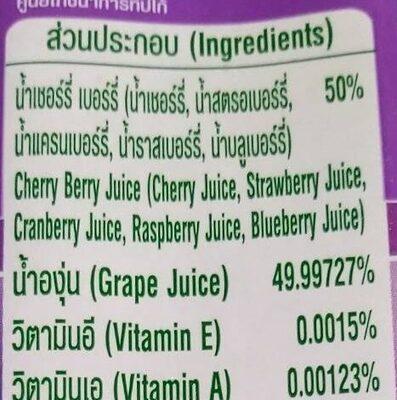 น้ำเชอร์รี่ เบอร์รี่ ผสมองุ่น - Ingredients