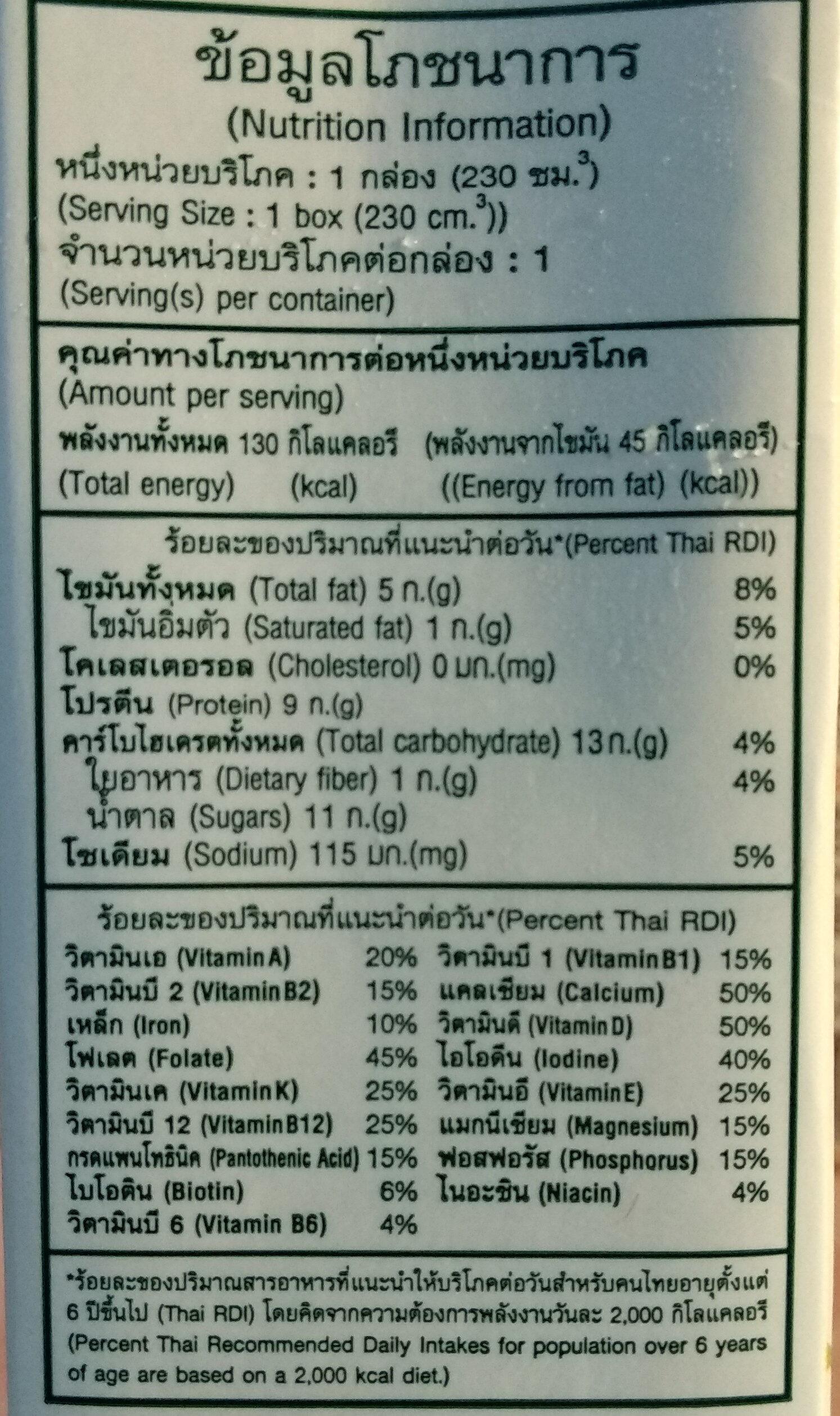 วีซอยสูตรหวานน้อย - Valori nutrizionali - th