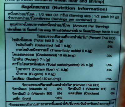 ถั่วลันเตาเคลือบรสบาร์บีคิว - Nutrition facts