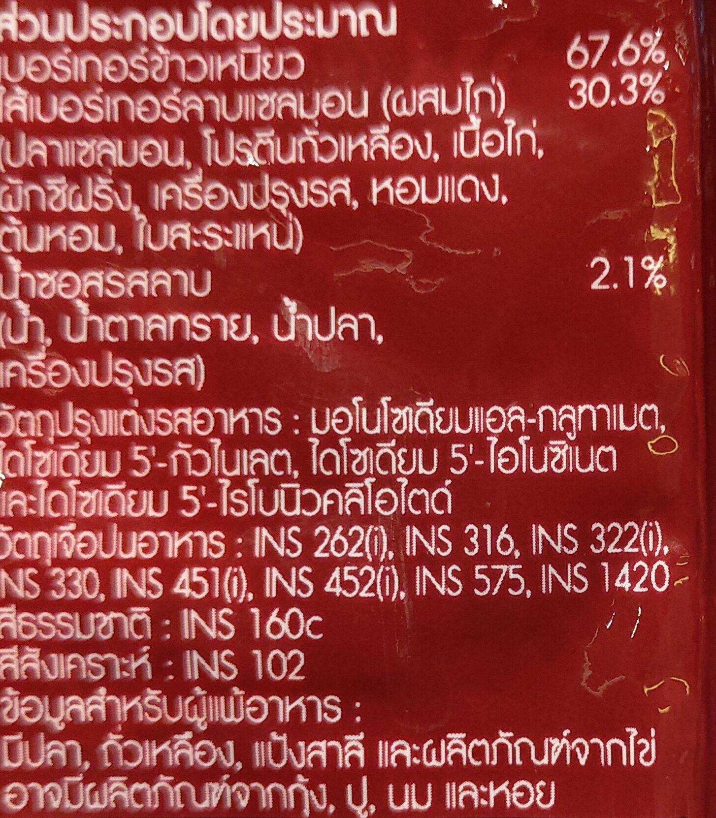 เบอร์เกอร์ข้าวเหนียวลาบแซลมอน - Ingredients