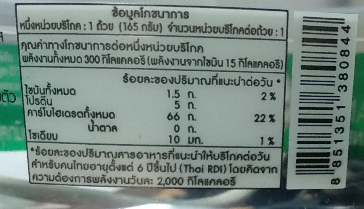 ข้าวสวยหอมมะลิ - Nutrition facts - th