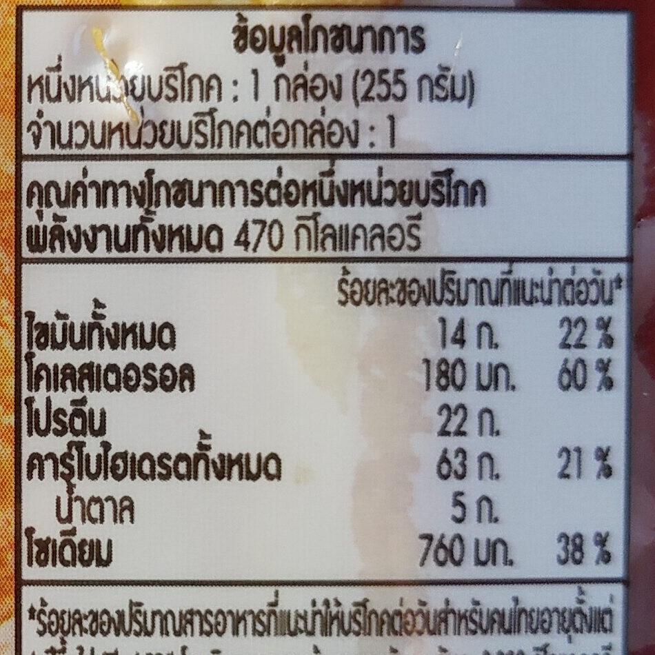 ข้าวหมูซีอิ๊ว ไข่เจียว - Informations nutritionnelles - th